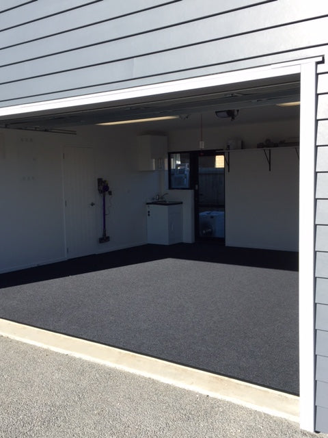 completed installation of charcoal garage carpet