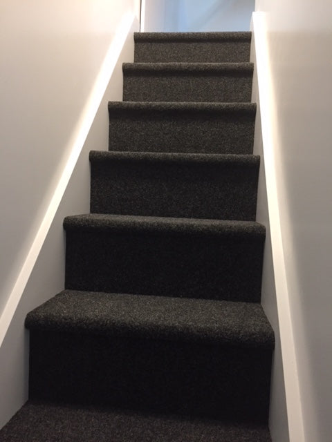 garage carpet laid on stairs