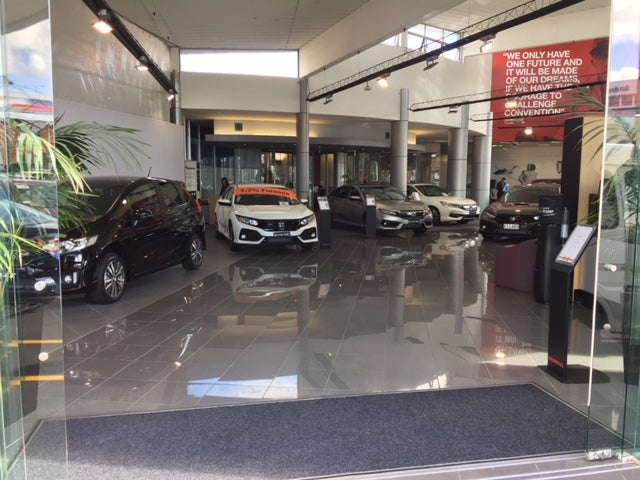 New Market Honda Showroom entrance with garage carpet laid