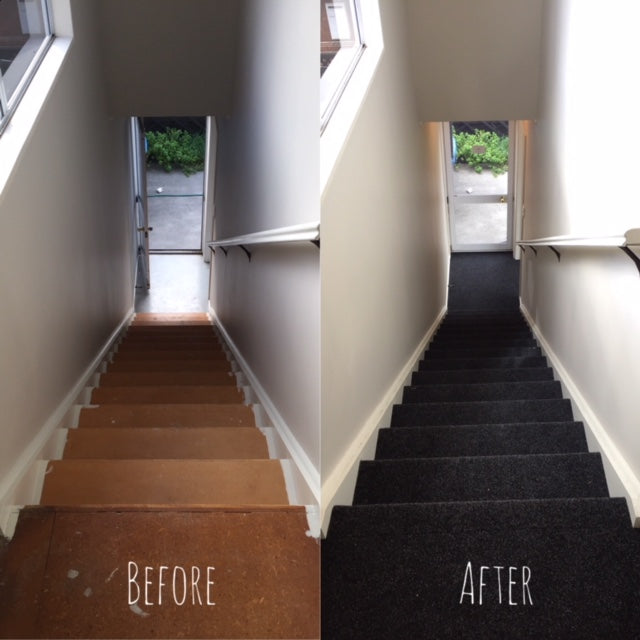 before & after photo of garage carpet installed on stairs