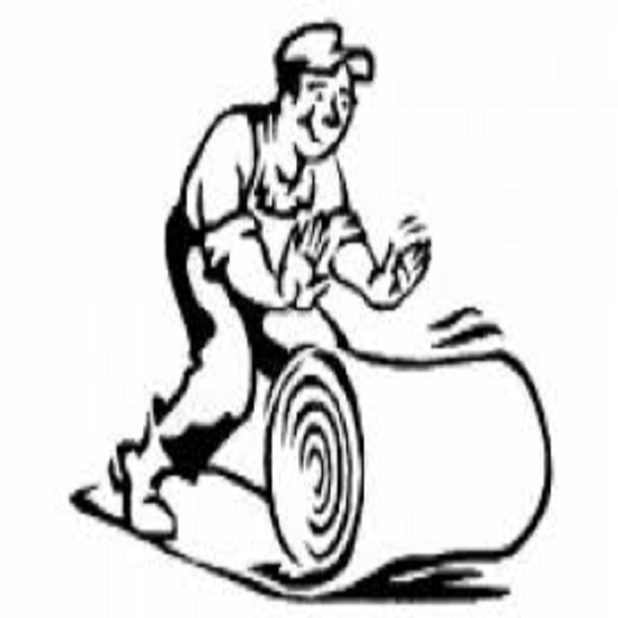 Cartoon Character of a man rolling out garage carpet