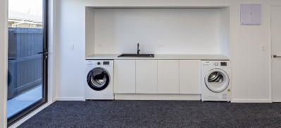 laundry with carpet