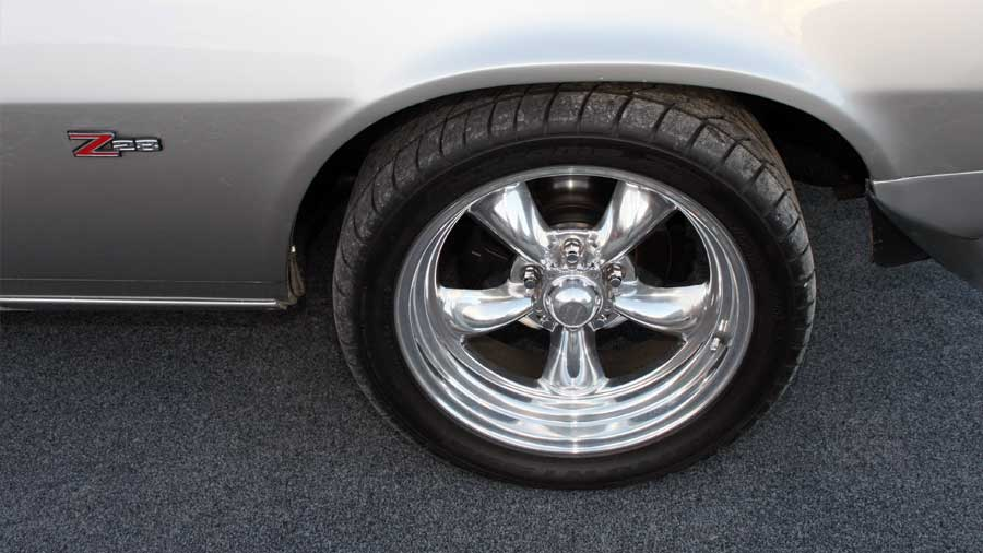 Hot Rod Wheel on garage carpet