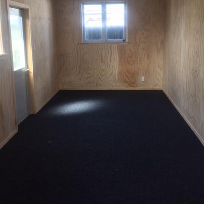 plywood walls with garage carpet in a single garage