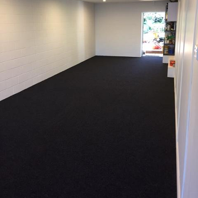 tandem garage with garage carpet
