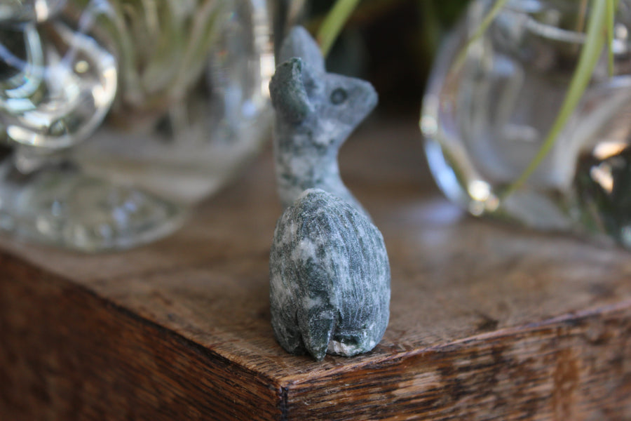 Moss agate carved deer 4