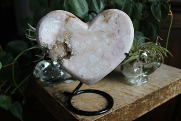 Pink amethyst heart with stand