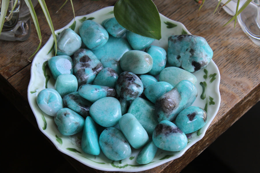 Amazonite tumbled stones (set of 3)