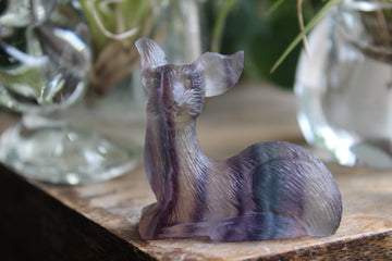 Hand carved rainbow fluorite deer 3