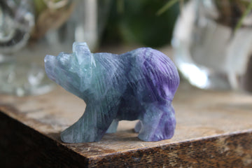 Hand carved rainbow fluorite bear 6