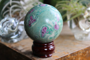 Ruby in fuchsite and kyanite sphere 1, new