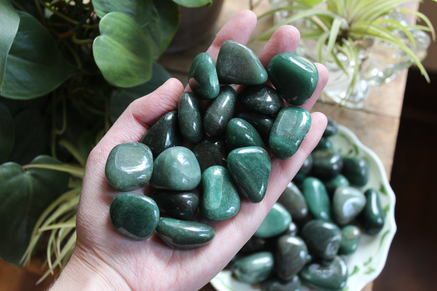 Green aventurine tumbled stones (large set of 3)