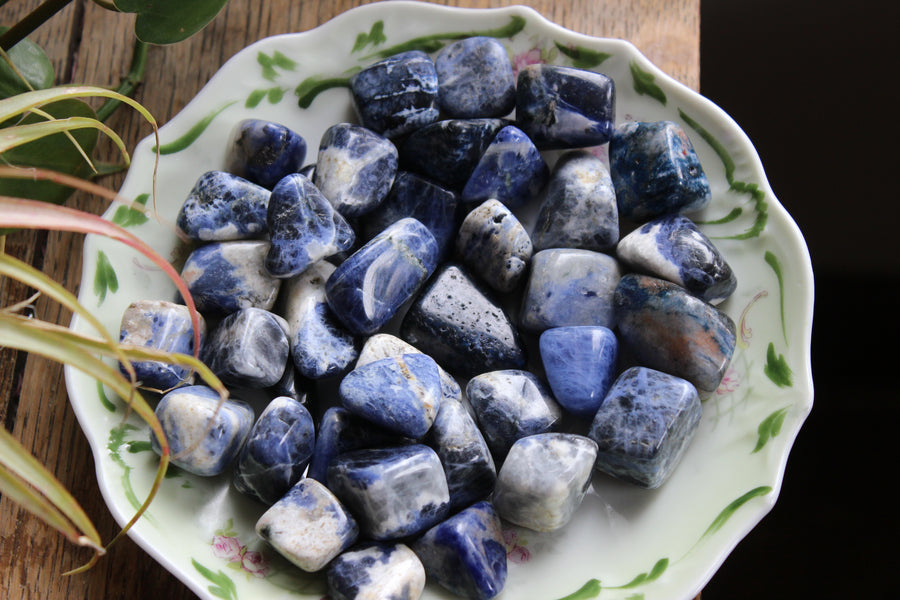 Sodalite tumbled stones (Large set of 3)
