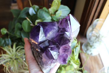 Large point amethyst cluster