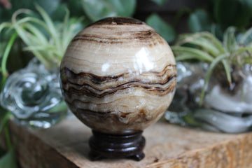 Chocolate calcite sphere 9