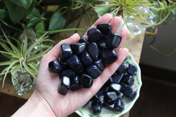 Blue goldstone tumbled stones (large set of 3)