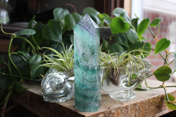 Rainbow fluorite tower 14