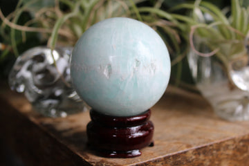Blue aragonite/Caribbean calcite sphere 12, new