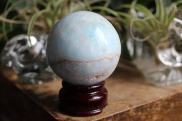 Blue aragonite/Caribbean calcite sphere 13, new