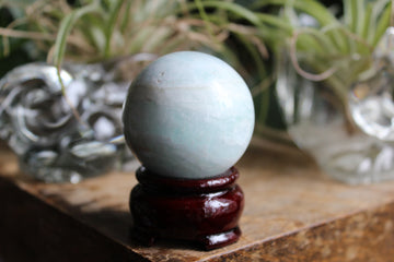 Blue aragonite/Caribbean calcite sphere 15, new