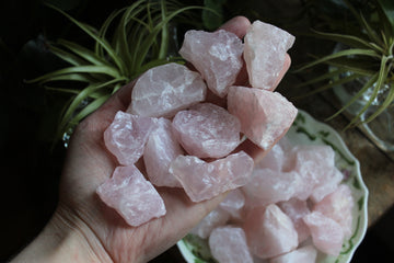 Rough rose quartz (set of 3)