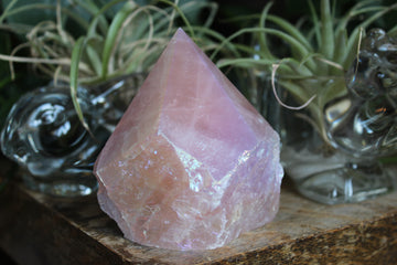Semi polished aura rose quartz tower 8, new