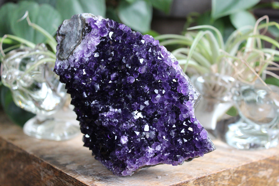 Amethyst stalactite eye formation with wooden base 2