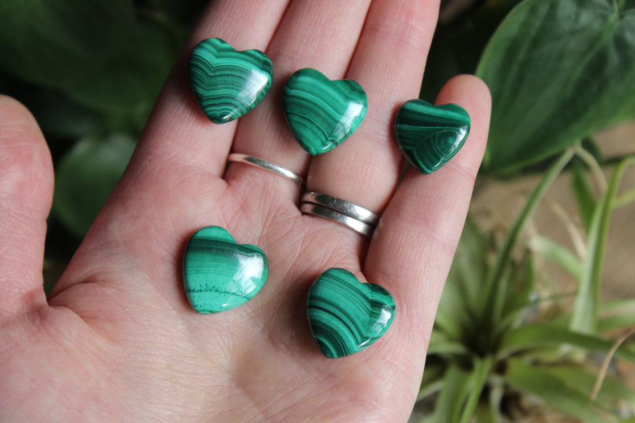 Tiny malachite heart, new