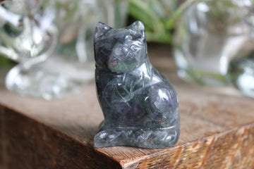 Rainbow fluorite carved cat 1
