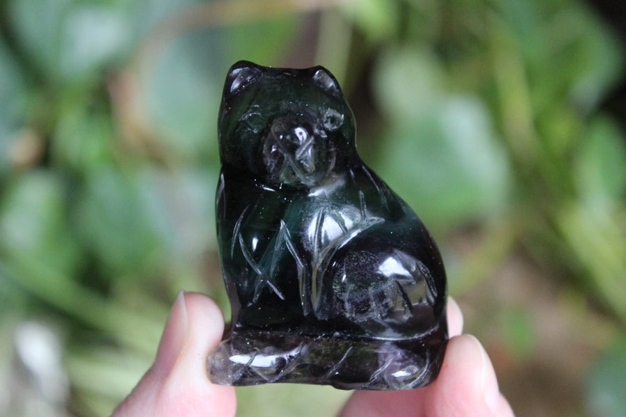 Rainbow fluorite carved cat 4