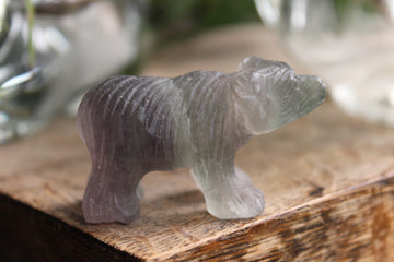 Hand carved rainbow fluorite bear 2