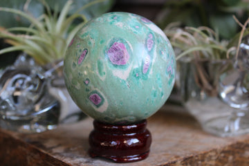 Ruby in fuchsite and kyanite sphere 4, new