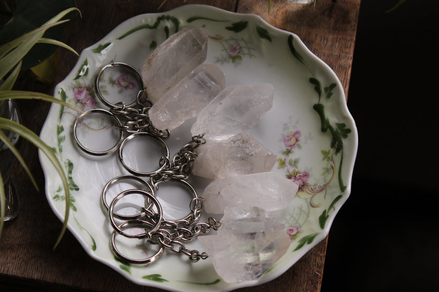 Clear quartz natural point keychain