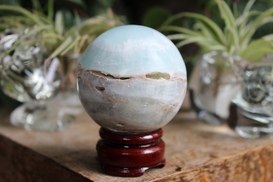 Blue aragonite/Caribbean calcite sphere 7
