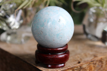 Blue aragonite/Caribbean calcite sphere 8, new