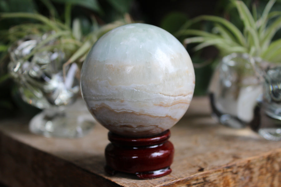 Blue aragonite/Caribbean calcite sphere 9, new