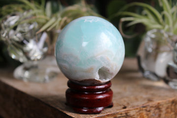 Blue aragonite/Caribbean calcite sphere 11, new