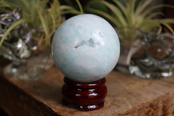 Blue aragonite/Caribbean blue calcite sphere 5