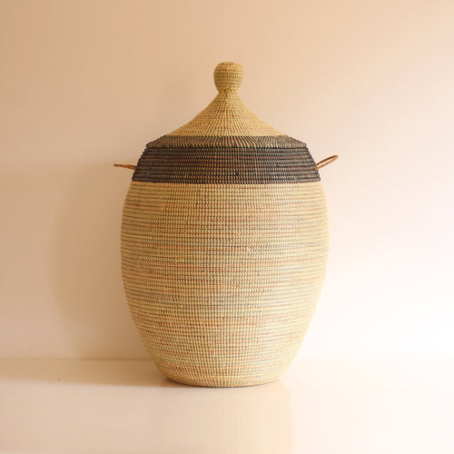 African Basket Black & Cream EGG (Large)