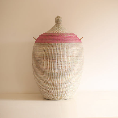 African Basket Pink & White EGG (Large)