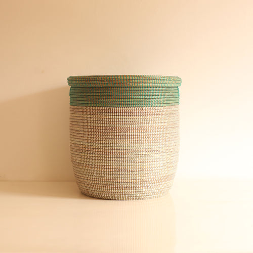 African Basket flat lid Green & White EPUR (Small)