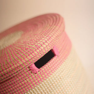 African Basket flat lid Pink & White EPUR (Small)