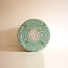 Load image into Gallery viewer, African Basket flat lid Turquoise & White EPUR (Small)