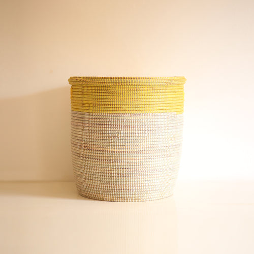 African Basket flat lid Yellow & White EPUR (Small)