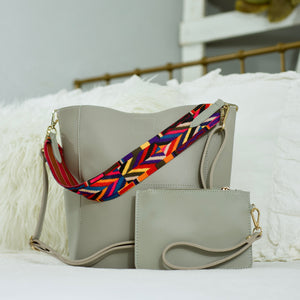 Handbag & Matching Wristlet - Threaded Pear