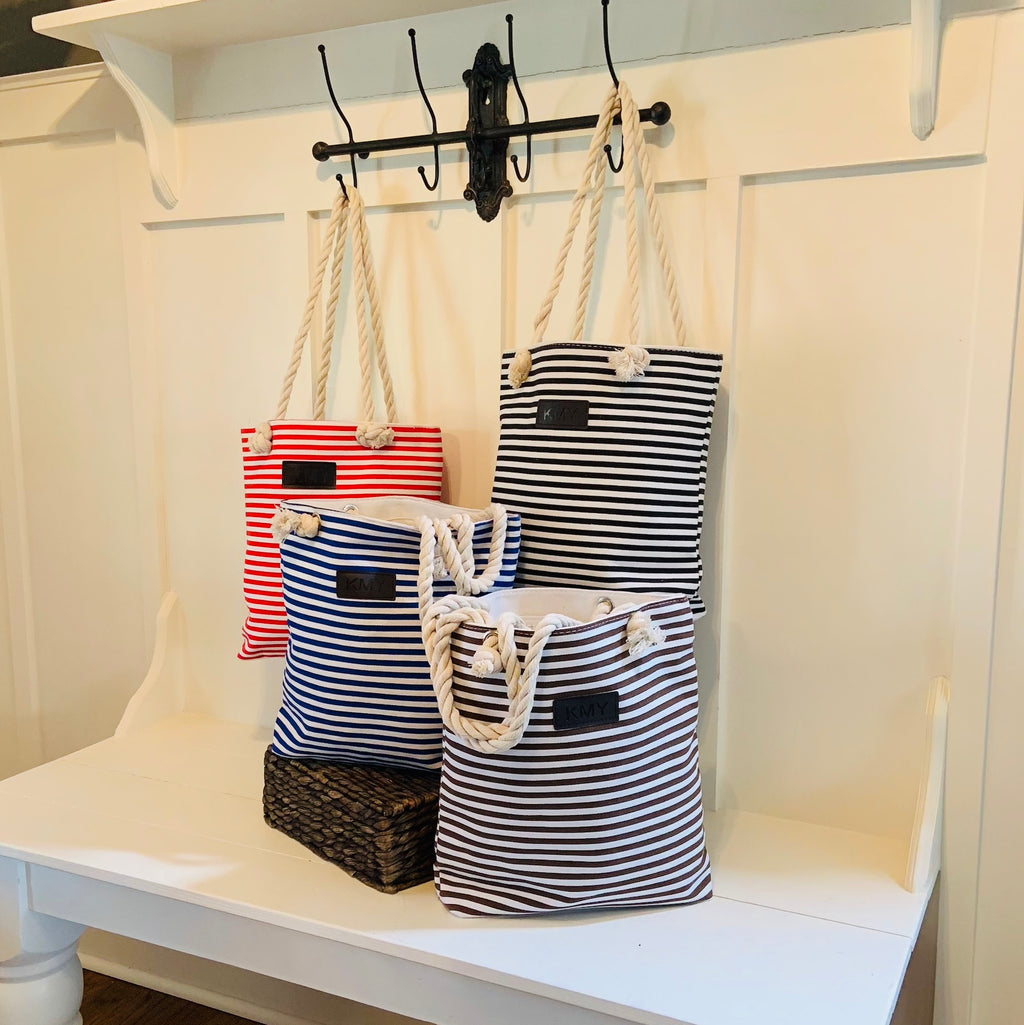 Striped Canvas Tote Bag - Threaded Pear