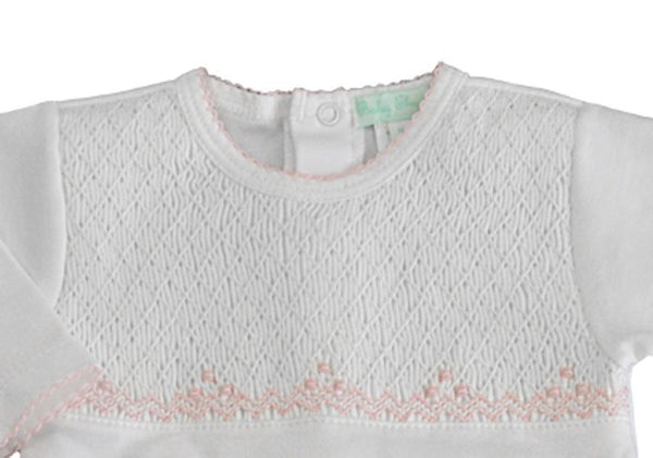 Baby Threads White/Pink Smocked Footie
