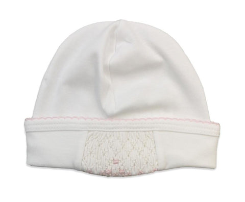Baby Threads Smocked Hat White/Pink