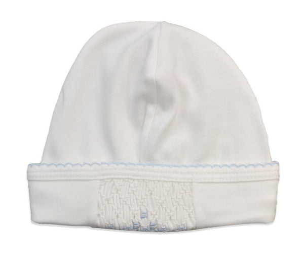Baby Threads White Hat w/Blue Smocking