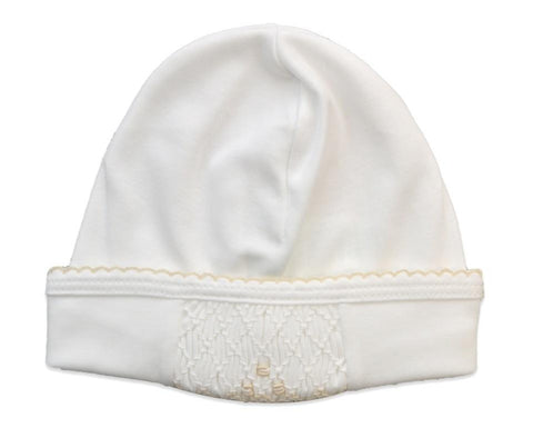 Baby Threads White Hat w/Ecru Smocking
